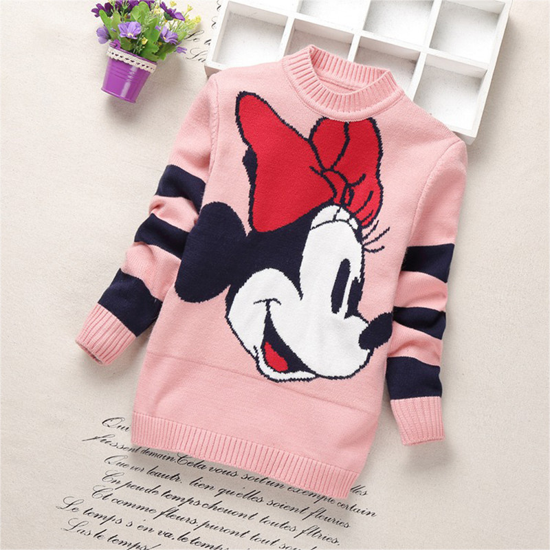 2019 New Baby Girls Sweaters Winter Girl Long Sleeve Cotton Knitted Clothes Kids Autumn Cartoon Sweater For Girls