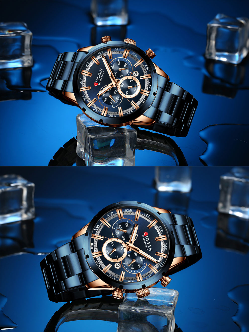 H7c1a397a2f5f4961b1f24d185e4633eez CURREN Top Brand Military Quartz Watches Silver Clock Mens Quartz Stainless Steel Chronograph Watch for Men Casual Sporty Watch