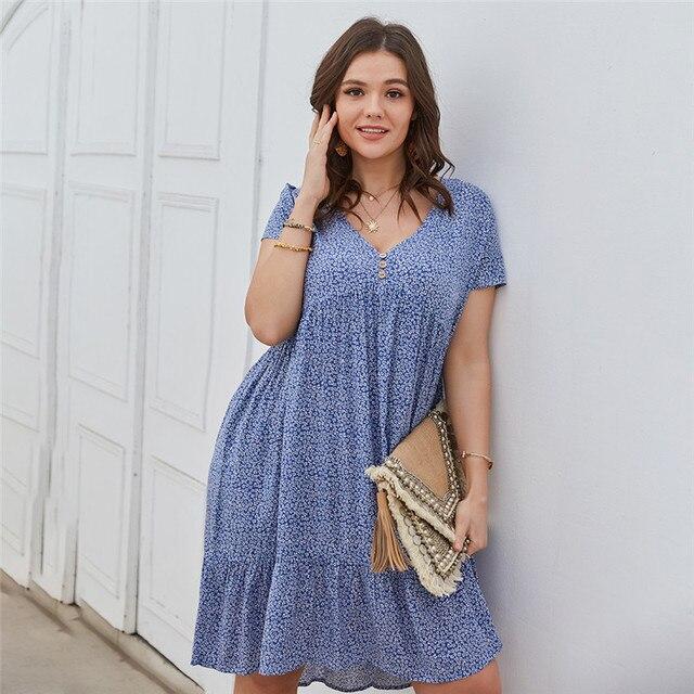 New 2021 Summer Dress Plus Size Women Beach Dresses Fashion Floral Chiffon Dress Short Sleeve V-Neck Loose Daily Dress Female 1