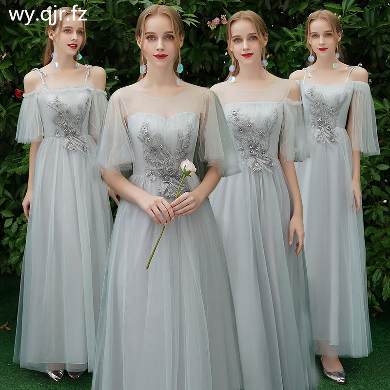 XXY6878#Midding Long Bridesmaid's Dresses Gray Graduation Christmas Chorus Wedding Party Dress Wholesale Cheap Women's Clothing