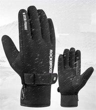 цена на ROCKBROS MTB Road Bike Bicycle Gloves Fleece  Winter Windproof Full Finger Keep Warm Gel Anti-slip Cycling Ski Sports Gloves