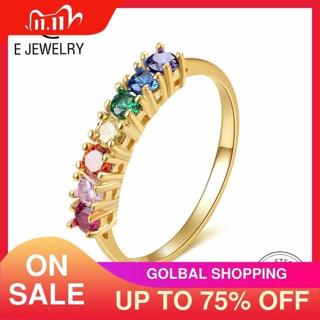 E אמיתי סטרלינג כסף 925 קשת טבעת נשים של צבע מעוקב Zirconia טבעות 14K זהב מצופה נצח חתונת טבעות תכשיטים
