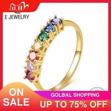 E Reale Argento 925 Arcobaleno Anello di Colore delle Donne Cubic Zirconia Anelli 14K Oro placcato Eternity Anelli di Cerimonia Nuziale gioielli