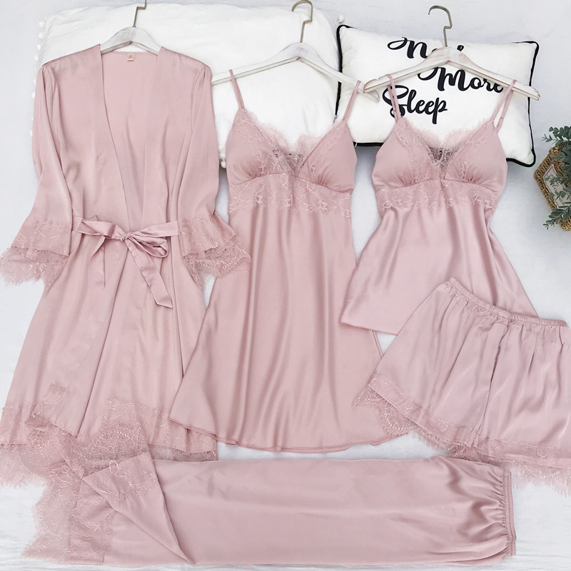 5PCS Pajamas Set Silk Satin Womens Lace Nightwear Spring Strap Pyjamas Suit Female Lounge Sleepwear with Chest Pads Home Wear
