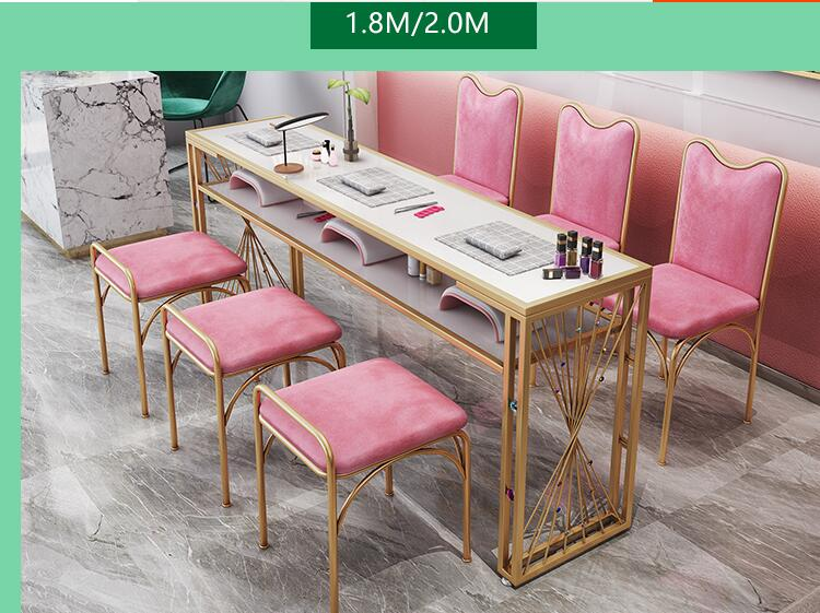 Net Red Earth Gold Manicure Table Chair Suit Single Double Simple Modern Beauty Shop European Diamond Manicure Table