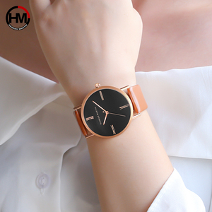 Image 2 - Japan imported movement Genuine Leather New simple design watch women fashion Luxury Brand quartz clock Ladies wrist watches