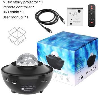 Kolorowe gwiaździste niebo Galaxy projektor Blueteeth USB sterowanie głosem odtwarzacz muzyczny LED lampka nocna romantyczna lampa projekcyjna urodziny tanie i dobre opinie GOOLOOK CN (pochodzenie) Efekt oświetlenia scenicznego Oświetlenie sceniczne DMX 90-240 V Domowa rozrywka