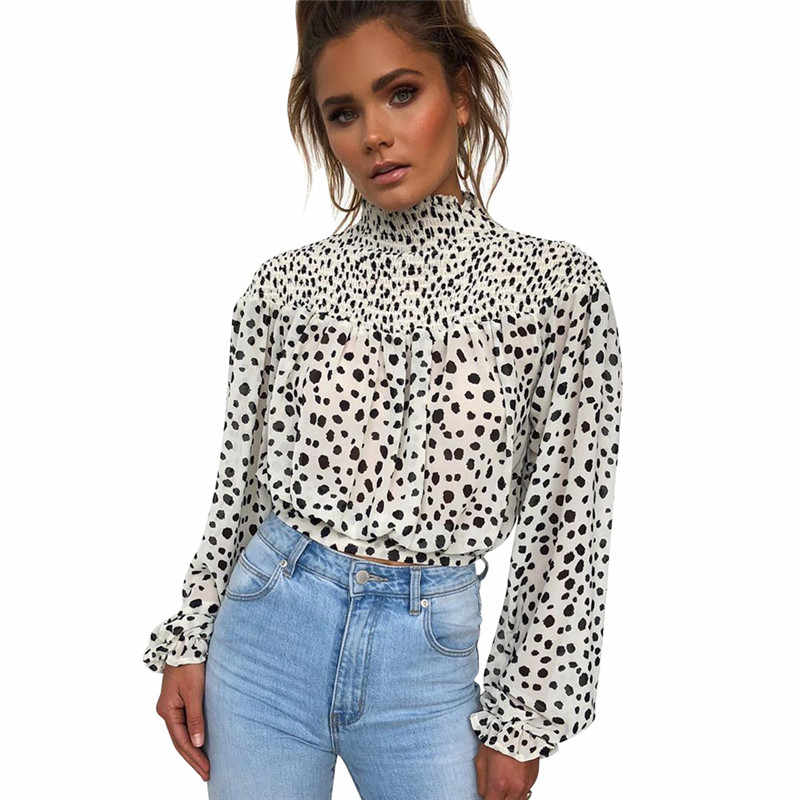 Женская черно-белая блузка в горошек рубашка 2019 осень с высоким воротом и длинным рукавом элегантные женские повседневные топы и блузки женские блузы