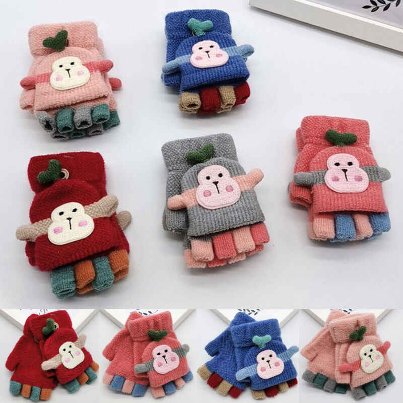 가을 겨울 따뜻한 아기 소년 소녀 두꺼운 모피 니트 만화 원숭이 장갑 유아 지문 장갑