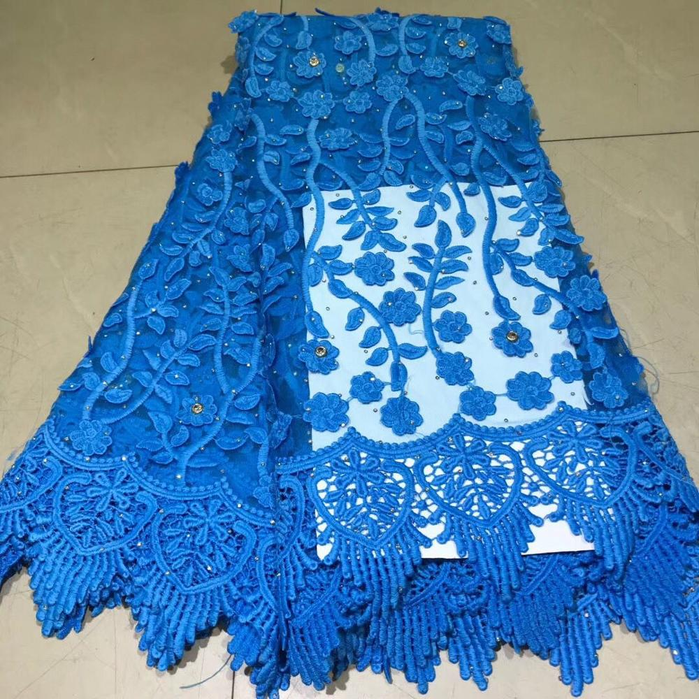 3D African Lace Fabric With Rhinestones Nigerian Swiss Voile Laces In Switzerland Tulle Lace Fabrics For Party Dress Wedding