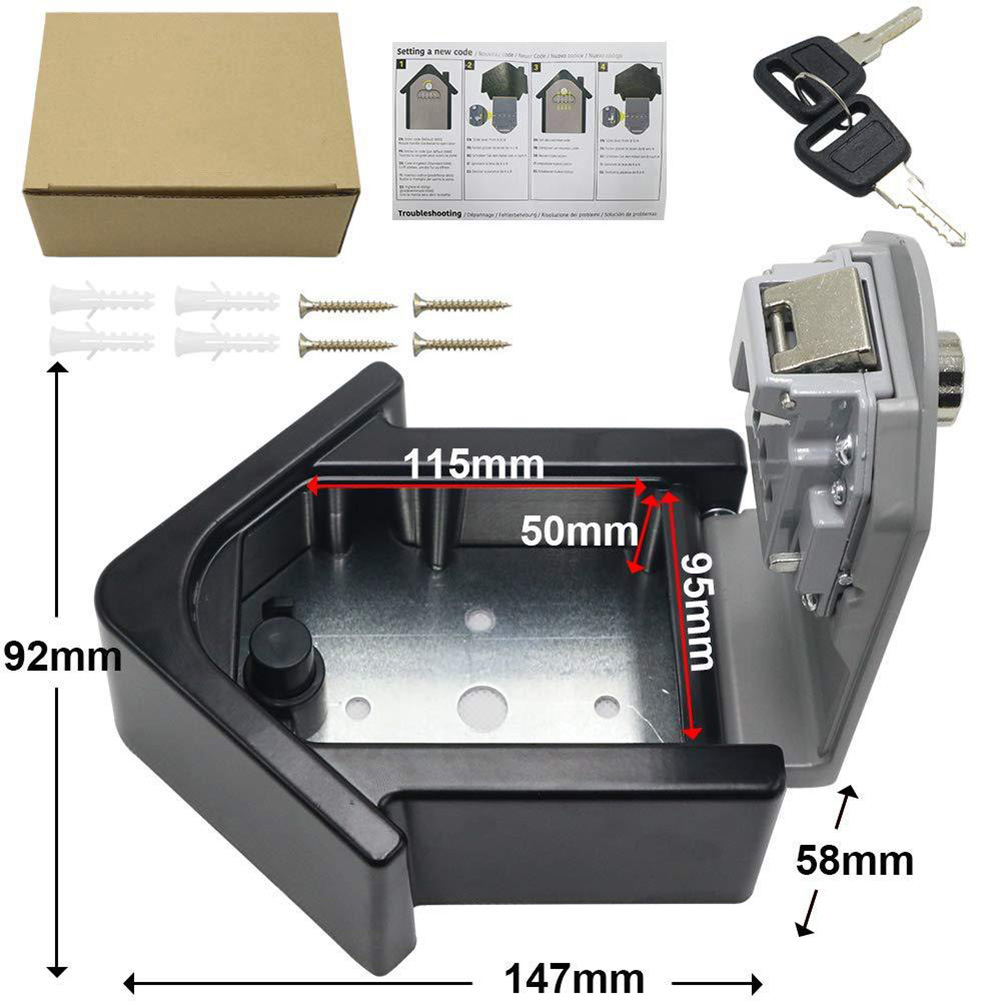 Key Lock Box With Waterproof Case Wall Mount Metal Password Box For Home Business  SP99