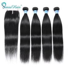 Panse cabelo indiano em linha reta feixes de cabelo humano com frontal 4x4 fechamento de renda não remy do cabelo 4 pçs trama & 1 pc frontal navio livre