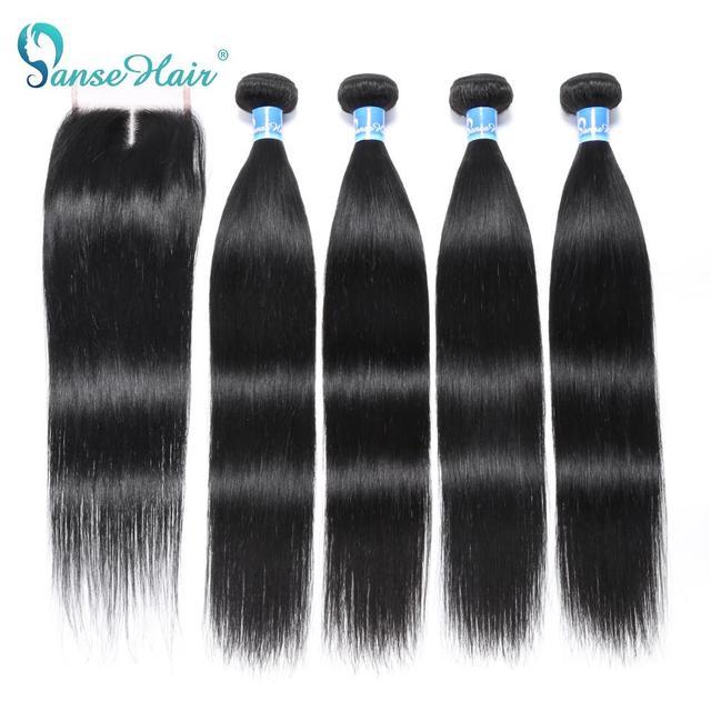 Panse волосы индийские прямые человеческие волосы пряди с фронтальной 4X4 закрытие шнурка не Реми волосы 4 шт уток и 1 шт. Фронтальная Бесплатная доставка
