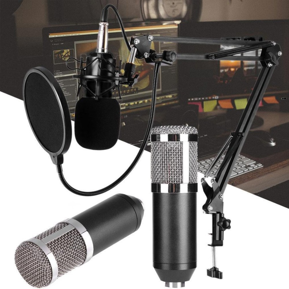 Mic Shock-Mount Condenser Broadcasting Singing Microphone-Sound Audio-Recording Studio title=
