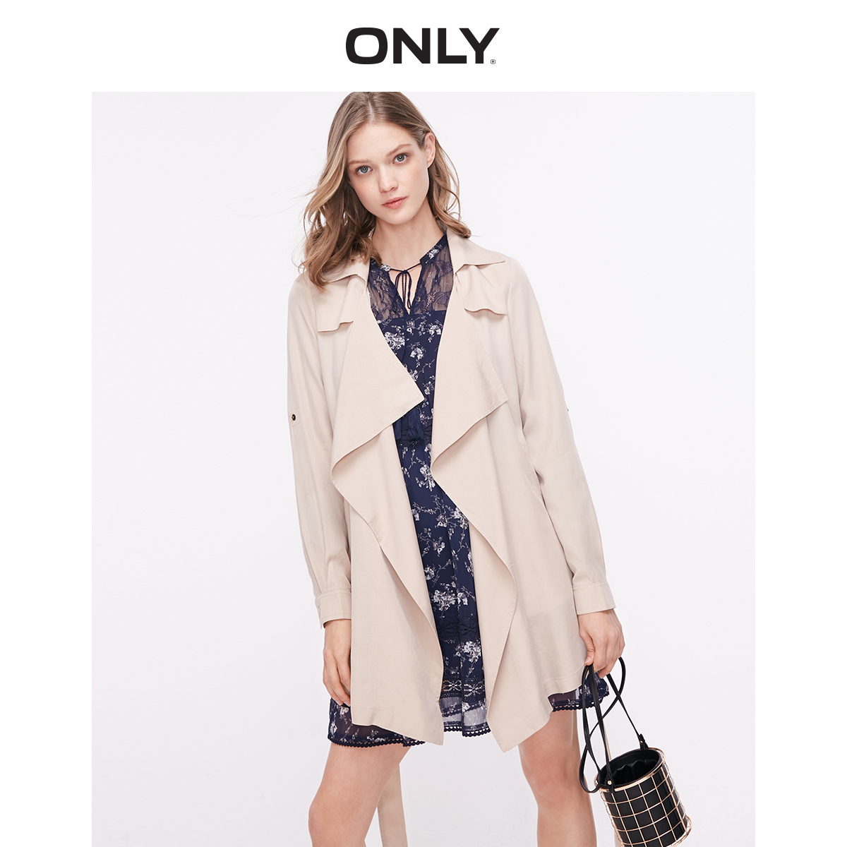 ONLY Women's Women's Mid-length Lace-up Trench Coat | 119136556
