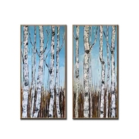 Birch Tree 2 Style Pictures Home Decor Wall Art Hand Painted Oil Painting on Canvas Handmade Yellow Color Picture Paintings