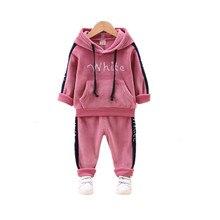 цена на 2020 Autumn Winter Sports Children Clothing Suits Kids Thick Velvet Hooded Pants 2Pcs/sets Boys Girls Tracksuit Infant Sweatsuit