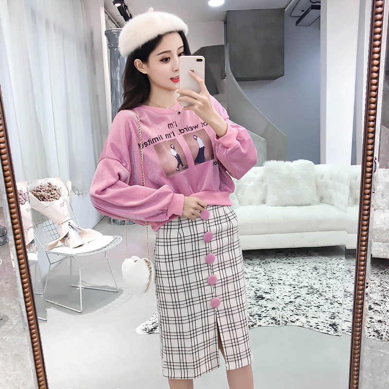2018 Autumn Clothing New Style Korean-style Fashion Goddess Liangsi Loose-Fit Hoodie Plaid Skirt Two-Piece Set
