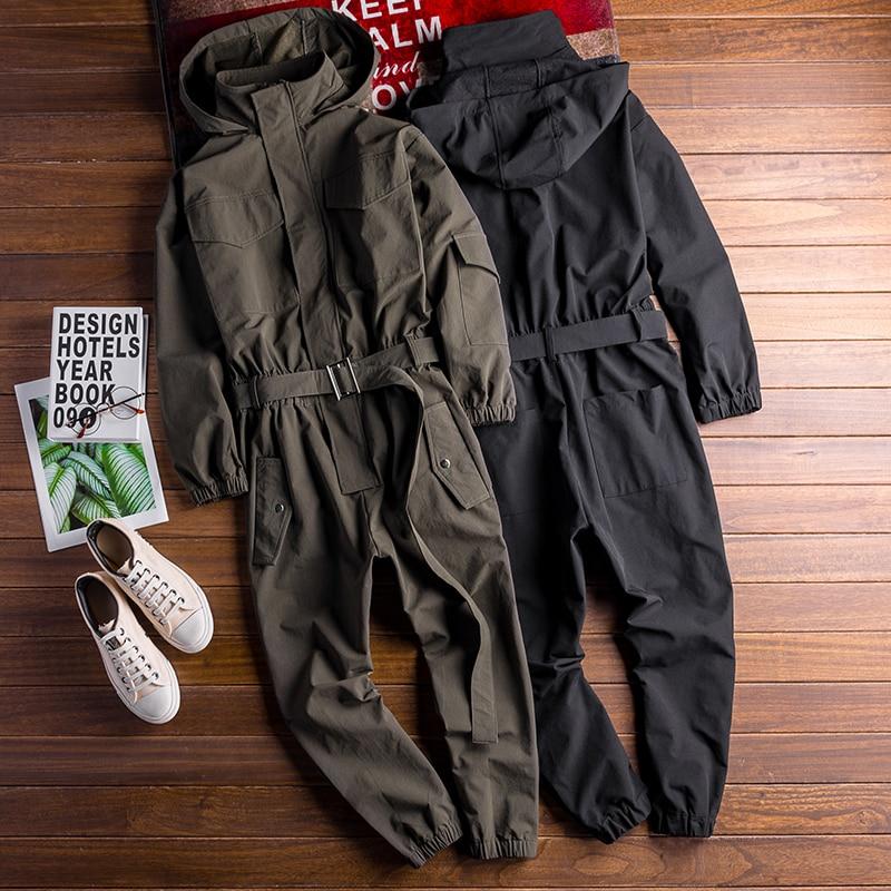 Men's Long Sleeve Bib Overalls With Hooded Jackets For Men Hip Hop Cargo Pant Suit Streetwear Loose Romper Jumpsuit Male Onesie