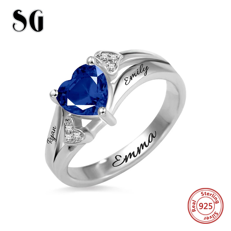 New Listing 925 Sterling Silver Custom engraved Name birthstone Love heart finger Rings for Women Personalized Wedding Jewelry