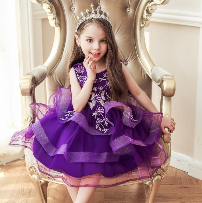 New Tiered Skirt Little Girls Clothes for Christmas Kids Birthday Dress Party Pageant Prom Special Occasion 3-10Years