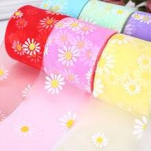 5 ярдов/партия милое Сетчатое кружевное платье с цветочным принтом