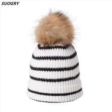 купить SUOGRY 2019 Fashion Hats Bonnet Winter Beanie Knitted Wool Hat Plus Velvet Cap Skullies Thicker Striped Beanies for Women дешево