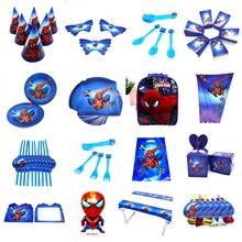 Дизайн с человеком-пауком для мальчиков на день рождения, Подарочный пакет, бумажные стаканчики и тарелки, ложка для душа, Одноразовые столовые принадлежности