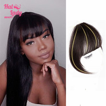 Halo Lady Beauty Peruvian Human Hair Blunt Bangs Clip In Hair Pieces Non-Remy Clip-In Fringe Hair Bangs 613 Blonde Neat Bang