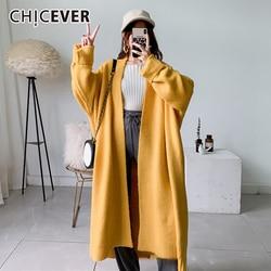 Suéter Casual coreano CHICEVER para mujer, cuello redondo, manga farol, cárdigans de talla grande de punto para mujer, ropa de otoño invierno 2020, nuevo