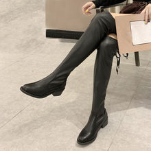 Lace Up Women's Boots Autumn Winter Strap Snow Knee High Long Bootie Casual Cowboy Solid Color Warm Shoes botas feminina(China)