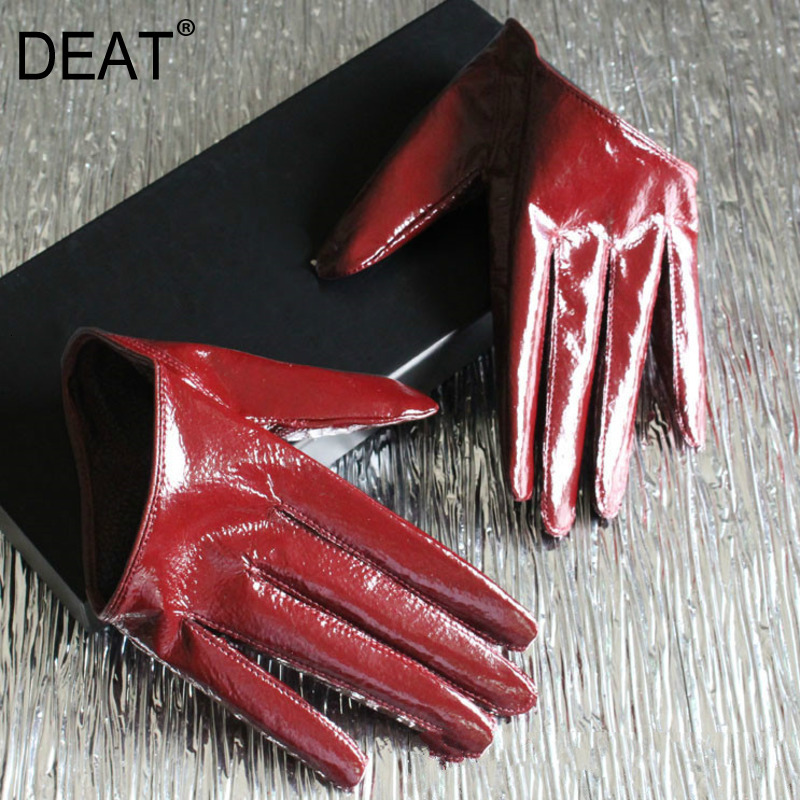 DEAT 2020 Autumn And Winter New Products  Fashion Sexy Leather Half Palm Women's Ultra Short Sheepskin Gloves PB181