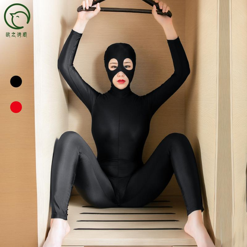Plus Size Women Masked Full Coat Zentai <font><b>Tights</b></font> Cosplay <font><b>Bodystocking</b></font> <font><b>Sexy</b></font> Hot Erotic Zipper Open Crotch Bodysuit Porno <font><b>Lingerie</b></font> image
