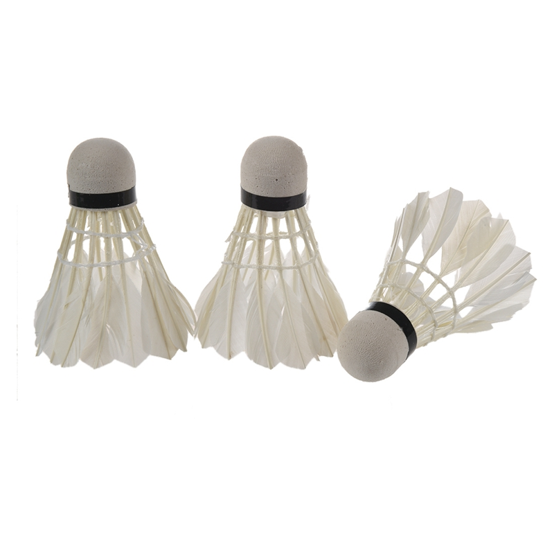 White Goose Feather Badminton Shuttlecock 3pcs W Carboard Cylinder