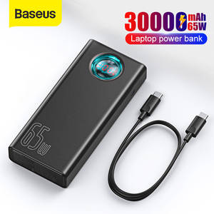 Baseus Power-Bank Battery-Charger Laptop 30000mah External iPhone Xiaomi Samsung PD QC3.0
