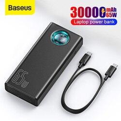 Banco de energía Baseus 30000mAh 65W PD, Banco de energía de carga rápida QC3.0 para ordenador portátil, cargador de batería externo para iPhone, Samsung y Xiaomi