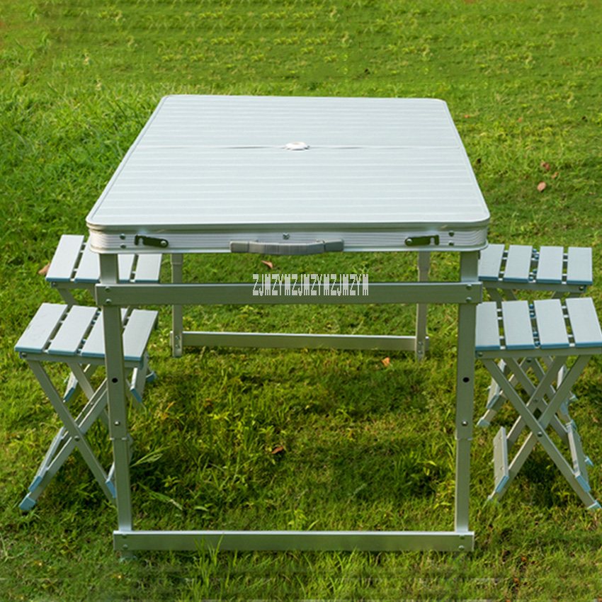 NZA-01 Beach Outdoor Folding Table Chair All Aviation Aluminum One Table Four Benches Portable Table And Chair Set