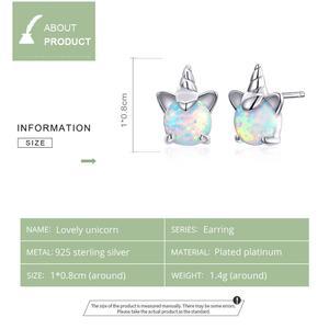 Image 2 - WOSTU 100% 925 srebro jednorożec Opal stadniny kolczyki dla kobiet małe kolczyki ślubne moda biżuteria rocznicowa CQE737