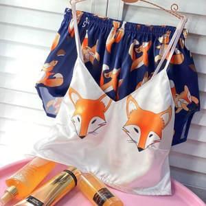 QWEEK Unicorn Pajamas Satin Silk Women Sleepwear Home-Suit Femme Woman Summer V-Neck