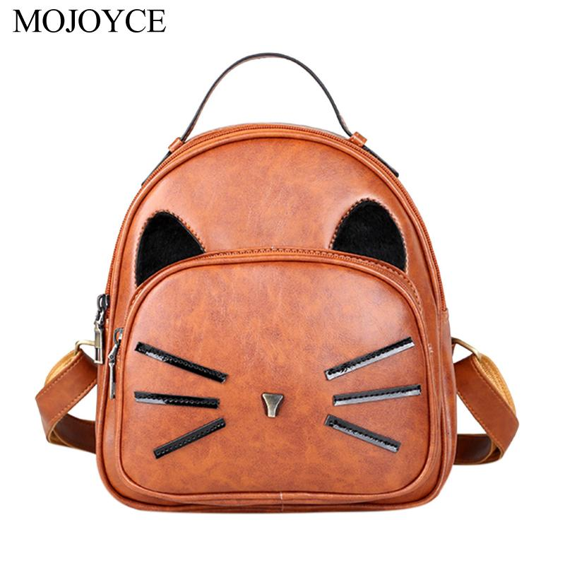 Casual Fashion Simple Women PU Leather Knapsack Cartoon Cute Cat Printed Backpack Girls Schoolbag Teenager Small Travel Rucksack