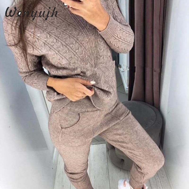 WENYUJH Woman Suits Wool Warm Knitted Sets Turtleneck Twist Sweater+pant Two Piece Set Female Winter Suit Woman Sport Costumes