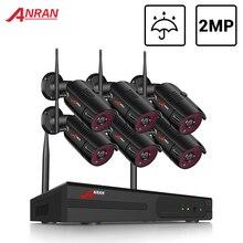 Anrun 6CH نظام المراقبة 2MP اللاسلكية في الهواء الطلق طقم كاميرا نظام الأمن مسجل فيديو مقاوم للماء التحكم عن بعد ليلة