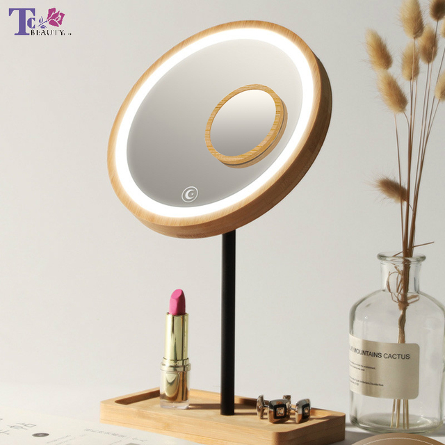Wooden Desktop LED Makeup Mirror 3X Magnifying USB Charging Adjustable Bright Diffused Light Touch Screen Beauty Mirrors 1
