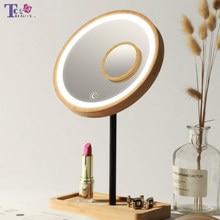 De Madera escritorio maquillaje LED espejo 3X aumento de carga USB brillante ajustable de luz difusa pantalla táctil belleza espejos