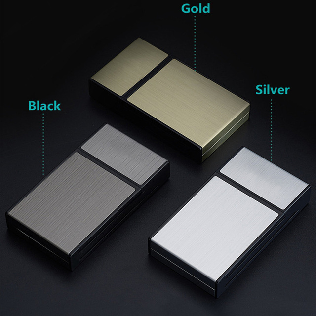 20 Sticks Cigarette Box Case Space Aluminum Slim Cigarette Holder Lighter Portable Cigarette Case Mens Gifts Smoking Accessories 5