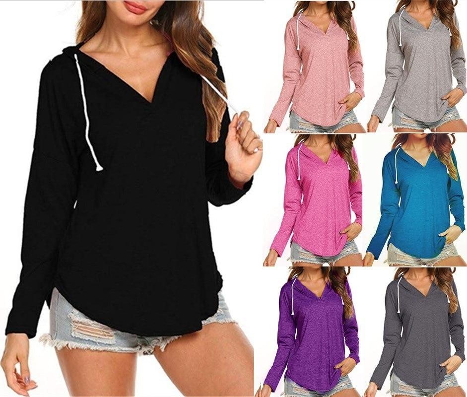 Madam Clothing OWLPRINCESS 2019 WOMEN'S Dress New Style V-neck Long Sleeve Hooded T-shirt