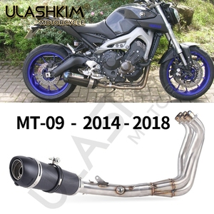 Motorcycle Full System Exhaust Muffler Escape Middle Pipe Slip On For Yamaha MT09 FZ09 MT-09 FZ-09 MT FZ 09 2013-2020 Exhaust