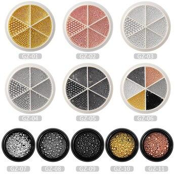 Mini bolas de acero inoxidable para decoración de uñas, 1 caja con diferentes tamaños, accesorios de uñas para decoración artística, cuentas de Caviar, negro, oro rosa y plata