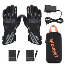 Перчатки с подогревом для мотоцикла, снегохода, теплые зимние лыжные перчатки с сенсорным экраном, водонепроницаемые теплые перчатки с электрическим подогревом