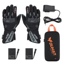 Motorcycle Snowmobile Heated Gloves Warm Touch Screen Heated Winter Ski Gloves Waterproof Electric Heating Thermal Glove